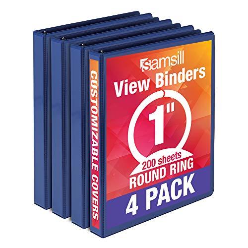 Samsill Economy 3 Ring Binder Organizer, 1 Inch Round Ring Binder, Customizable Clear View Cover, Bulk Binder 4 Pack, Dark Blue, Model Number: MP48532