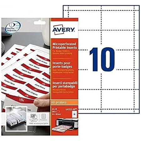 AVERY - Pochette de 200 inserts iprimables pour badges, En carte blanche 190g/m², Format 90 x 54 mm, Impression laser / jet d'encre, (L4727-20)