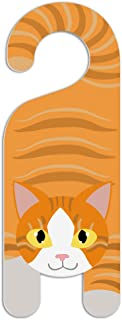 Orange and White Cat Do Not Disturb Plastic Door Knob Hanger Sign - Blank