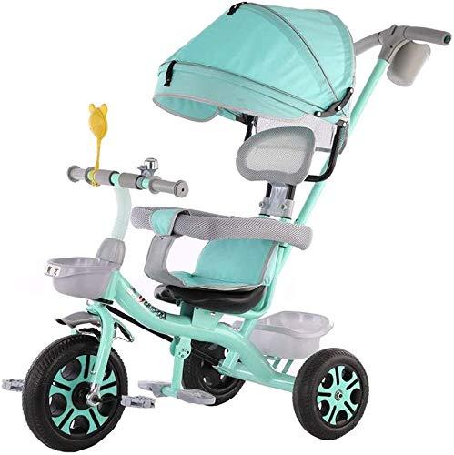 WLD kinderwagen 'S Training Vehicle driewieler comfortabele kinderwagen 4 in 1 driewieler voor kinderen lichte buggy voor fietsen, afneembare bescherming, inklapbaar pedaal Groen