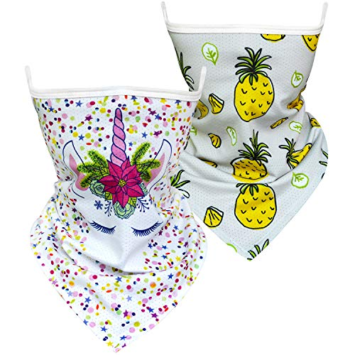 Hzran Kids Bandanas Face Mask, 2PCS Neck Gaiter with Ear Loops, Back to School Scarf