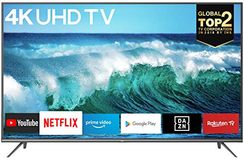 TCL 43EP640 LED Fernseher 108 cm (43 Zoll) Smart TV (4K Ultra HD, HDR 10, Triple Tuner, Android TV, Prime Video, Alexa und Google Assistant) Schwarz