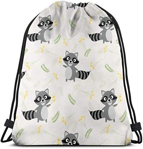 KINGAM Bolsas de cincha lindo mapache y pequeña flor con cordón mochila gimnasio danza bolsas de viaje bolsas de viaje regalo de cumpleaños