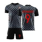 HGTRF Uniforme de fútbol para niños Camiseta de fútbol de visitante de la selección Nacional de Perisic Croacia, Camiseta de fútbol Personalizada de Juego de fútbol para hombres-black9-20