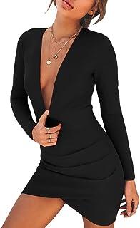 LvRao Donna Sexy Collo a V Abito a Pieghe Backless Vestito a Bodycon Mini Abito da Sera Cocktail Clubwear