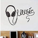 Pegatina De Pared Música Auriculares Silueta Pegatinas Sala De Estar Sofá Fondo Dormitorio Vinilo Arte Decoración Del Hogar Mural Negro 84X58Cm