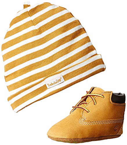 Timberland Crib Bootie with hat, Scarpe prima infanzia e cappello, Giallo (Wheat), 17 EU