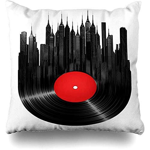fenrris65 Throw Pillow Case 45x45 Cm Audio Round Hiphop Remix Retro Soundtrack Sing Media Album Vinyl City 3D Isolated Deejay Landmarks Cushion Cover