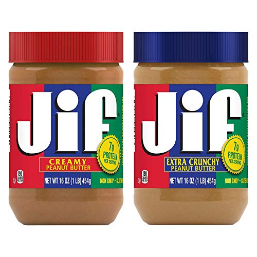 Jif Creamy and Crunchy Peanut Butter, 2 16-ounce Jars, Natural Delicious Flavor, Packed with Healthy...
