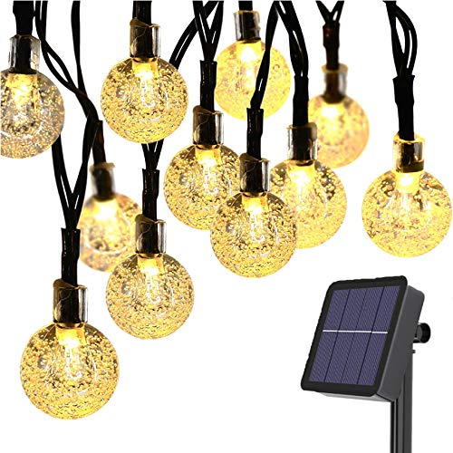 Rpanle Luces Exterior Solar, Luces Led Solares Exteriores 9.5m 50 LED 8 Modos Cadena de Luces Decoracion para Navidad/Terraza/Fiestas/Bodas/Patio/Jardines/Festivales (Blanco Cálido)