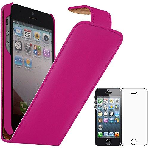 ebestStar - Funda Compatible con iPhone SE 5S 5 Carcasa Abatible PU Cuero, Ultra Slim Case Cover, Rosa + Cristal Templado Protector Pantalla [Aparato: 123.8 x 58.6 x 7.6mm, 4.0'']