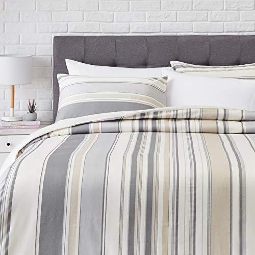 AmazonBasics Super-Soft Cotton Duvet Comforter Cover Set - King/Cal King, Grey Bold Stripe