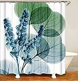 MundW DasDesign Duschvorhang Pflanzen grüne Blätter Blumen Badezimmer Textil Vorhang waschbar Antischimmel Effekt türkisblau Shower Curtain badewanne inkl. 12 C-Ringe mit Gewicht unten 180x200cm (BxH)