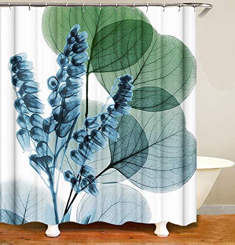 M&W DasDesign Cortina de ducha natural con plantas verdes para cuarto de baño, con efecto antimoho y flores, lavable, incluye 12 anillos en C, peso inferior 180 x 200 cm (ancho x alto)