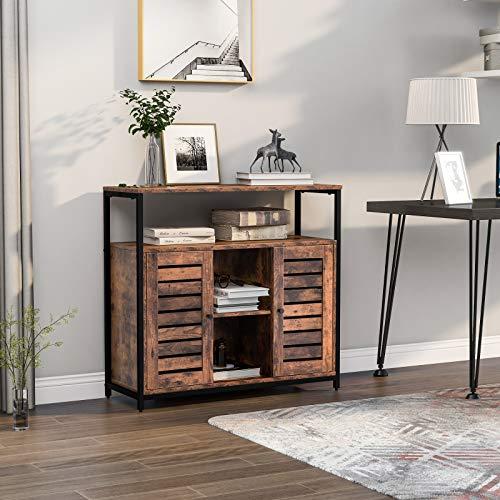 Keebgyy Aparador con dos puertas, armario de cocina, diseño industrial, marco de acero, marrón y negro, 90 x 30 x 80 cm