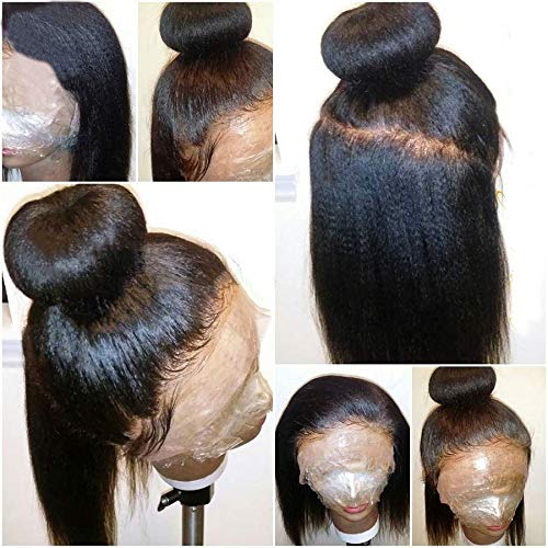 Italian Light Yaki Full Lace Wigs Human Hair for Black Women, Pre Plucked 150 Density Yaki Straight Virgin Full Lace Human Hair Wigs, Bleached Knots No Tangle No Shedding (18inch, full lace wig)