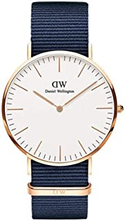 Daniel Wellington DW00100275 Fabric-Band White-Dial Round Analog Unisex Watch - Navy