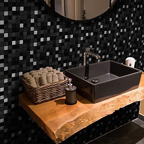 Anntool Peel and Stick Removable Metallic Mosaic Wallpaper Tile Stickers Wall Sticker Home Decor for Backsplash Kitchen Bathroom Shop (25 Pcs/Set)