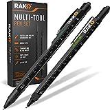 RAK Multi-Tool 2Pc Pen Set - LED Light, Touchscreen Stylus, Ruler, Level, Bottle Opener, Phillips Screwdriver, Flathead, and Ballpoint Pen
