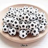 XinqinDing 50 Stücke Silikonperlen Schnullerkette,Selber Machen,World Cup Fußball Perlen DIY...