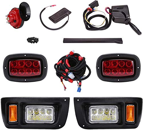 10L0L Golf Cart LED Headlight Taillight Kit ABS Plastic Compatible for Club Car DS All Models with Turn Signal Switch Horn Brake Lights Harness
