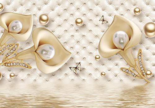 wandmotiv24 Fototapete Gold Tulpen Edelstein Perlen Polsterwand, L 300 x 210 cm - 6 Teile, Fototapeten, Wandbild, Motivtapeten, Vlies-Tapeten, Blumen Diamanten Schmetterlinge Wasser M4643