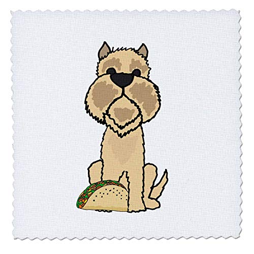 3dRose Funny Cute Brussels Griffon Puppy Dog eating Taco Food Cartoon - Quilt Squares (qs_326727_2)