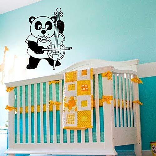 Leuke Kleuterschool Dierendecoratie Chinese Panda Viool Kinderen Muursticker Cartoon Woondecoratie Muursticker Vinyl 77x58cm