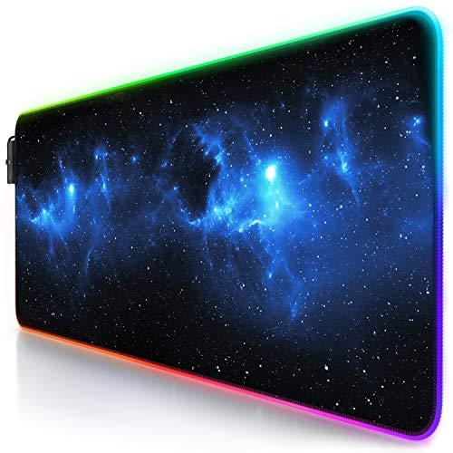 Titanwolf - RGB Gaming Mauspad - LED Schreibtischunterlage - 800x300 mm - XXL Mousepad - LED Multi Color - 11 Beleuchtungs-Modi - 7 LED Farben Plus 4 Effektmodi - abwaschbar - Stars