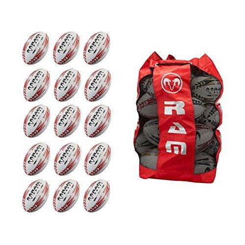 Ram Rugby formación Pelota de Rugby Bundle–15x Bola de escuadrón, Bola y Transpirable Bolsa