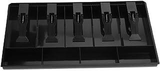 Registro De Cajón De Bandejas De Dinero En Efectivo, Caja De Dinero De Plástico, 5 Billetes y Compartimentos De Bandeja De 4 Monedas Caja De Almacenamiento De Dinero(Negro)