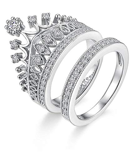 University Trendz Stainless Steel Metal Pattern Stylish Queen Crown Ring for Girls(Silver)