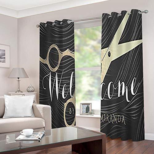 SFALHX Gordijnen, ondoorzichtig, met ogen, verduisteringsgordijn, thermogordijn, lichtdicht, voor woonkamer, slaapkamer, keuken, 2 x B117 x H138 cm/zwart & schaar