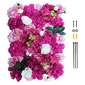 GKanMore Artificial Flowers Wall Decoration 24″ x 16″ Decorative Silk Flower Panels Flower Wall for Home Party Wedding Christmas Festival Photo Backgdrop Decor (Red&Pink&White)