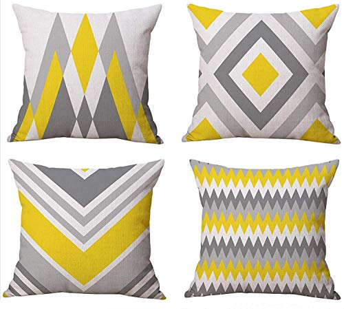 TIDWIACEYellow Gray and Cotton and linen Cushion Cover Decorative Square Throw Pillow Case Pillowcases for Livingroom Sofa Bedroom with Invisible Zipper 45x45cm/18x18 Inch Set of 4