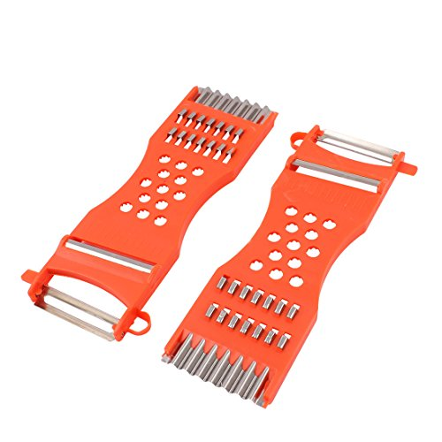 sourcing map Fruit Vegetable Potato Carrot Slicer Peeler Cutter Orange Red 2pcs
