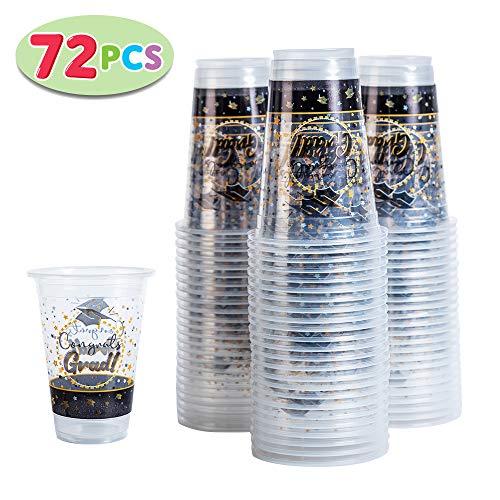 JOYIN 72 Pack Graduation Party Supplies Plastic Cups Graduation Party Accessories Supplies Graduation Party Favors