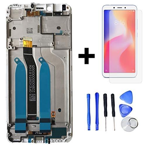 Hypak Pantalla Completa para Xiaomi Redmi 6 y Redmi 6A (con Marco) Repuesto LCD Tactil Digitalizador (Blanco)