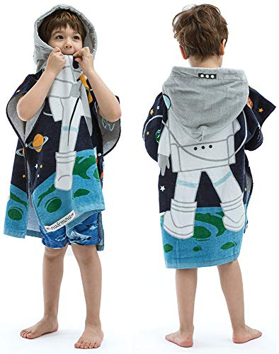 "Hooded Towel for Babys Toddlers, Boys Girls 12M to 4 Years, 47""x24"" Cotton Wrap,Super Soft Absorbent Cotton,Multi Use for Kids Bath Pool Beach Swim Bathroom Child Cover ups, Astronaut Theme"