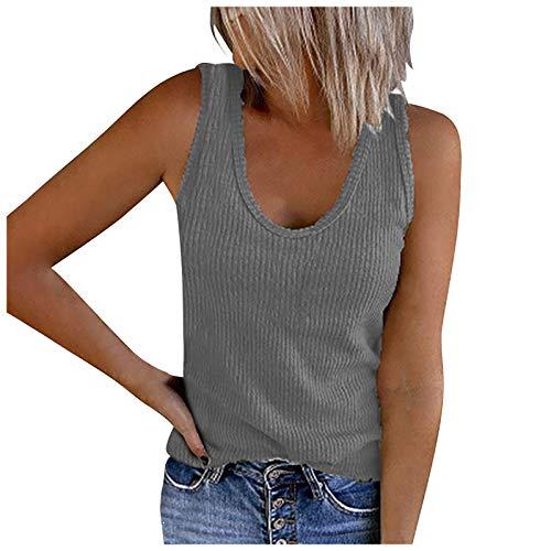 Masrin Solide Tanktops für Damen Ärmelloses Hemd mit U-Ausschnitt Sommer Lässige Rippenstrick-Trainings-T-Shirt-Bluse(L,Grau)