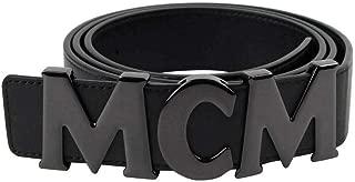MCM Unisex Black Leather Hook Belt With MCM Buckle MXB7AMM10BK130 (2XL)