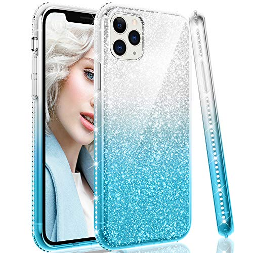 Maxdara Glitter Case for iPhone 11 Pro Max Case Girls Women Sparkle Bling Case with Luxury Shiny Diamond RhinestoneCrystal Soft Bumper Case for iPhone 11 Pro Max 6.5 inches (Silver Teal)
