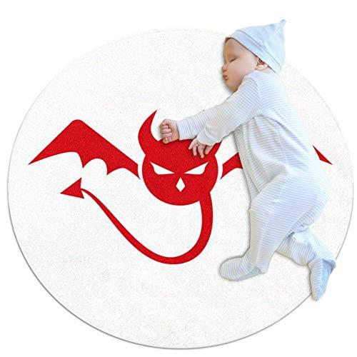 Red Devil Wings Tapis de jeu pour bébé Tapis modernes doux ronds pour les décorations de salle de plancher 80x80cm