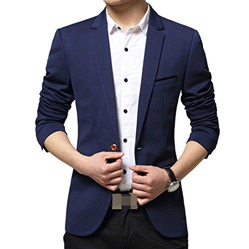 LEOCLOTHO Herren Slim Fit Sakko V Ausschnitt Anzugjacken Eins knopf Blazer mit Vordertasche Navy Blau
