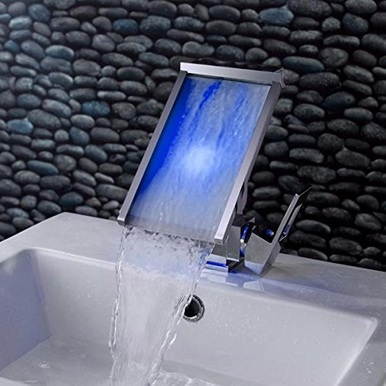 AllureFeng Europische kreative Wasserfall Wasserhahn hei und kalt LED Verbreiterung der Leiste unter Zhler Becken Waschtischmischer