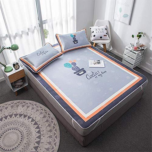Nantong - Conjunto de tres piezas de esterilla de seda de hielo lavado, colchón de casa, colchón de verano, aire acondicionado, colchón de seda hielo, tres piezas vestido@cactus_1,5 m (5 patas)