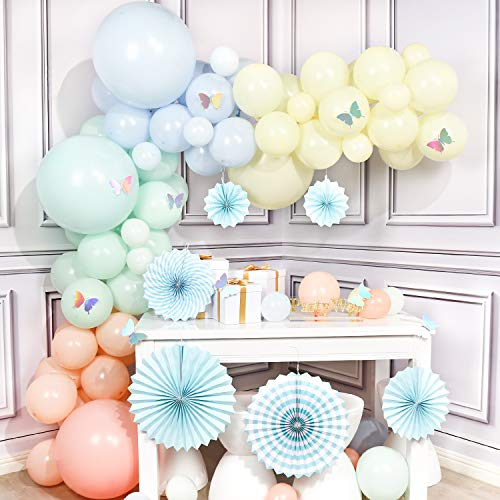 PartyWoo Pastel Balloon Garland, 100 pcs 18 inch Latex Balloons Pastel, 12 Inch Pastel Balloons, Pastel Colour Balloons 5 In, Paper Fans and Tassels for Unicorn Birthday Decorations, Ice Cream Party