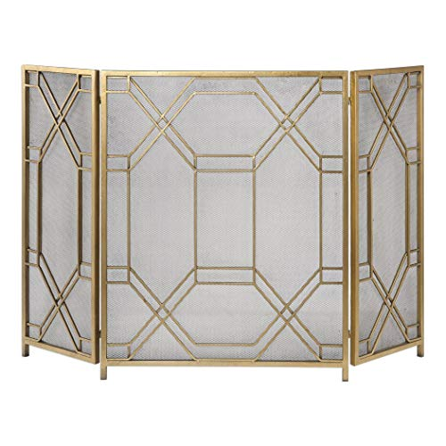 Great Price! Gold Fireplace Screen Modern Contemporary Metal Goldtone Finish
