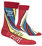 Blue Q Socks, Men's Crew, Take No S--t Give No F--ks,Men's Shoe Size 7-12