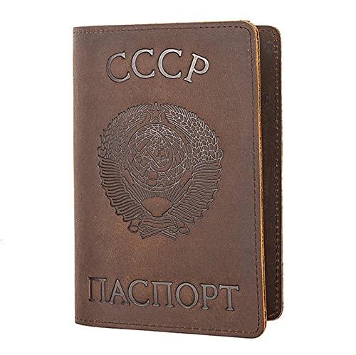 Russische Föderation Leder Passhülle Retro Visitenkartenhalter Kreditkarten-ID-Inhaber-CCCP Kaffee